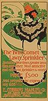 ツインComet芝生スプリンクラーヴィンテージポスターUSA C。1897 24 x 36 Signed Art Print LANT-63022-710