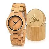BOBO BIRD D19 メンズ竹木製腕時字スケールクォーツ腕時計軽量カジュアルスポーツ時計