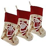 WewillブランドLovelyクリスマスストッキングのセット3サンタ、トナカイ、雪だるまクリスマス文字3d PlushリネンHangingタグニットBord..