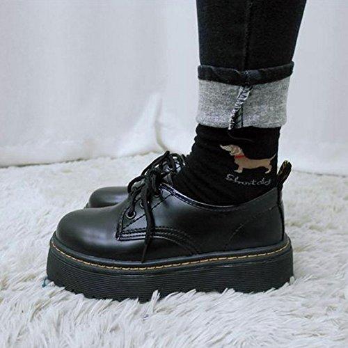 レディース 厚底靴 皮靴 パンプス 履きやすい フラット 身長アップ ひも ブラック PUエナメル調 (M(23cm~23.5cm), ブラック)