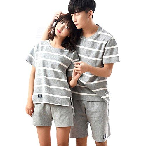 (ジュタオピン) ペア パジャマ 綿 半袖 夏 ペア ルームウェア メンズ 部屋着 大きいサイズ カップル お揃い 服 ペア カップル パジャマ ボーダー パジャマmkm2086-女M+男XL