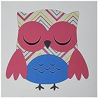 Anne Marie Baugh Owls–キュートピンクシェブロンストライプフクロウ–グリーティングカード Set of 12 Greeting Cards