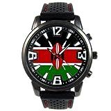 ケニア国旗 - メンズブラックゼリーシリコンウォッチ