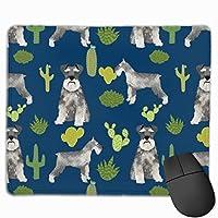 シュナウザー犬とサボテンのデザインマウスパッド 25 x 30 cm