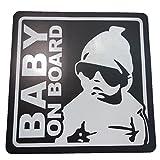 BABY ON BOARD 赤ちゃん 乗車中 ( 16cm マグネット ステッカーブラック )