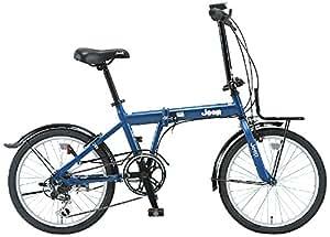 JEEP(ジープ) 20インチ折りたたみ自転車 シマノ6段変速 前後泥除け フロントキャリア JE-206G NAVY