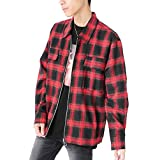 レッド F (ベストマート)BestMart ジップアップ ネルシャツ メンズ 長袖 チェック 無地 ポケット付き シャツ 624128-010-891