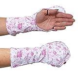 UVカット 指まで隠れるハンドカバー 【手の甲の日焼け防止手袋】紫外線対策 (ピンク(フローラル))