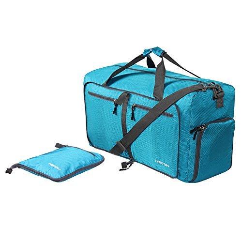 HEXIN Men Women Carry on Duffel Bag Lightweight Luggage Travel Bag Duffle Weekend Gym Bag Blue