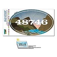 48746 ミリントン, MI - 川岩 - 楕円形郵便番号ステッカー
