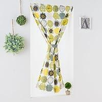 カフェカーテン/丸みを帯びたキュートな花柄 綿100%カフェカーテン「ポップドロップス」 グリーン 【幅50cm 丈60cm】(フラット・タイプ)