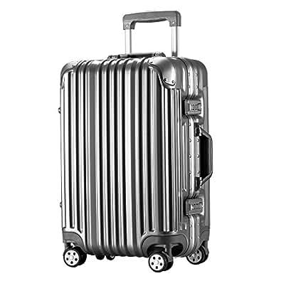 [トラベルハウス]Travelhouse スーツケース キャリーバッグ アルミフレーム スクラッチ仕上げ 超軽量 大容量 TSAロック  (S, グレー)