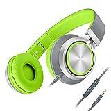 AILIHEN C8 ヘッドホン イヤホン 折り畳み式 高音質 マイク付き iPhone6など対応 (グレーグリーン)