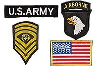 US ARMY アメリカ陸軍 4枚セット ミリタリー ワッペン パッチ ベルクロ付き