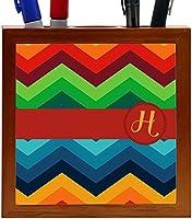 Rikki Knight Letter H Initial on Zig Zag Design 5-Inch Tile Wooden Tile Pen Holder (RK-PH45869) [並行輸入品]