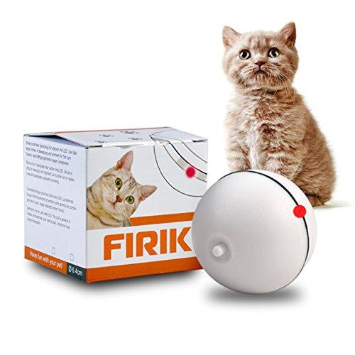 FIRIK (フィリク) 猫おもちゃ LEDボール 光って電動 コロコロ 動く トレーニング(ホワイト)