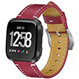 Vancle for Fitbit Versa バンド 高品質な革 交換ベルト交換用バンド(追跡装置でない) (Red)