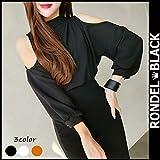 RONDEL-BLACK(ロンデルブラック)肩出し トップス 秋 肩見せ ボトルネック ブラウス トップス 長袖[ネコポス可] orange