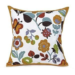 Baibu (バイブ)選べる4柄 綺麗な 抱き枕カバー サガラ刺繍 クッションカバー 45×45cm 欧米 風 ピローケース 花柄 オレンジ