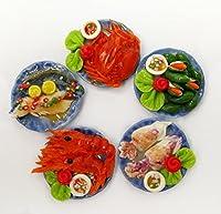 Set of 4ドールハウスミニチュアSeafood onプレートCrab Lopster