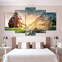 Jason Ming 抽象絵画写真壁モジュラー写真用リビングルーム装飾5パネルローイング風景Hdポスターキャンバス絵画
