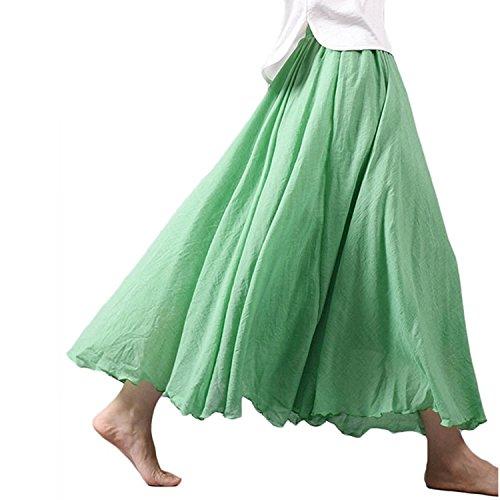 レディース 森ガール エレガント 純色 ゴム ウエスト 着痩せ 綿麻 マキシ スカート 着回し 幅広 フレア ロングスカート全12色 (85cm, グリーン)