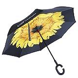 DOB 逆折り式傘 長傘 逆さ傘 UVカット 晴雨兼用 手離れC型手元 耐風 撥水加工 ビジネス用車用 晴天の空 爽やか (ひまわり)