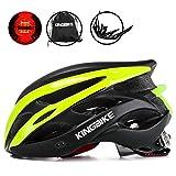 KINGBIKE 自転車 ヘルメット 大人用 ロードバイク サイクリング ヘルメット 超軽量 高剛性 LEDライト・ヘルメットレインカバー付き 男女兼用 56-60CM M/L ブラック&グリーン