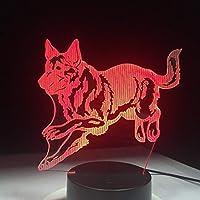 羊飼いランニング犬3dナイトランプホログラム3dインテリアランプカラフルなテーブルデスクライト誕生日プレゼント用子供友達