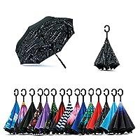 Jooayou Double Layer Inverted Umbrella, C Shape Handle Reverse Folding Umbrella, Anti – UV Windproof Travel Umbrella with carrying bag