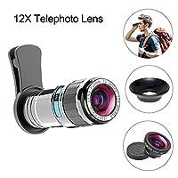 Vorida 携帯電話カメラレンズ 携帯電話カメラレンズ 2イン1キット 12倍望遠レンズ + 180度魚眼レンズ iPhone Xs Max X/8/7/6 Samsung Googleなどに対応