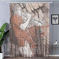 2枚100x198cm ロングカーテン 軽い薄い オシャレ UVカット 遮熱 洗える 省エネ ホワイト ジャズ音楽の装飾、夜自由ho放に生きるグランジグランジ背景にトランペットミュージシャンアートプリント、赤黒白