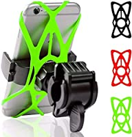 YXZQ携帯電話ホルダー、3シリコンサポートバンド付き自転車オートバイハンドルバーマウントホルダー、ブラック