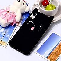 IPhone XR用チェシャ猫パターンシリコン保護ケース (Color : Black)