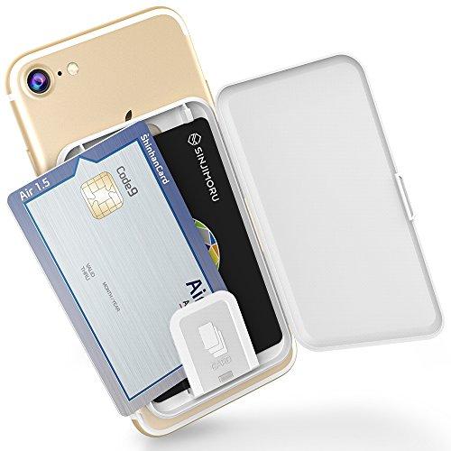 手帳型カード入れケース Sinjimoru suica icカードポーチ 貼ったり剥がしたり再使用できる背面携帯 ケースCard Zip, ホワイト