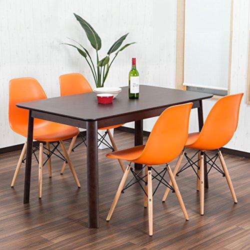 RoomClip商品情報 - 【イームズダイニング5点セット 体に馴染むイームズチェア(木脚 DSW) 4人用】 お洒落なデザイナーズ食卓セット(チャールズ・レイ・イームズ) 落ち着いたテーブル130×80cm (オレンジ色)