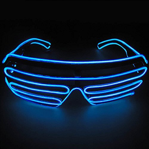 光る LED サングラス コスチューム用小物 ブルー 横14...