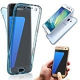 Vandot Samsung Galaxy A8 (2015 バージョン) SM-A800 携帯ケース、超薄 高級 ソフト 透明 TPU シリコン 前後カバー ギャラクシー a8 ケース 全面保護 タッチ操作可能 簡単 おしゃれ 衝撃吸収 前後セット-ブルー