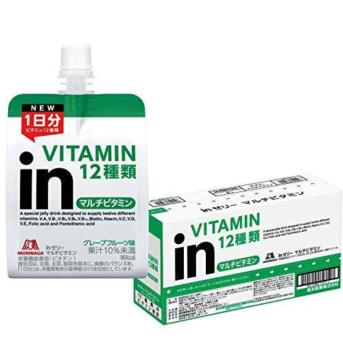『inゼリー マルチビタミン グレープフルーツ味 (180g×6個) 栄養補助ゼリー 10秒チャージ 1日分のビタミン12種類配合 栄養機能食品(ビオチン)』画像