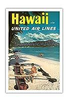ハワイ - ユナイテッドエアラインズ - ダイヤモンドヘッドクレーターの前でハワイアウトリガーカヌーでのカップル - ビンテージなハワイの旅行のポスター c.1960s - アートポスター - 76cm x 112cm