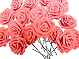 バラ 造花 50個 茎付き 8cm セット 手作り アレンジメント バレンタイン パーティー お祝い に(赤)