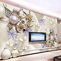 3D写真壁紙パールダイヤモンド花蝶現代ロマンチックなリビングルームのソファテレビの背景の壁の装飾壁画 250cm x 160cm