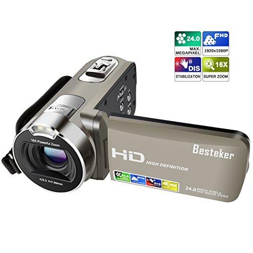 ビデオカメラ Besteker ポータブルビデオカメラ 24...