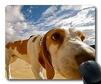 カスタムマウスパッド、犬犬ペットパッド、犬砂漠動物性ペットビーチ景観がかわいい、犬ゲームマウスパッド