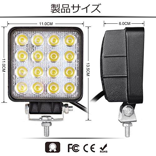 CooAgo LEDワークライト 48W 厚型 広角タイプ(60度) 6000K IP67防水 CREE製 10-30VDC対応 12V/24V兼用 LED 作業灯 角型 車照明 船舶用 ( 4個セット、1年保証 )