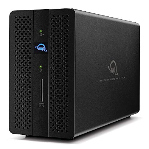 【国内正規品】OWC Mercury Elite Pro Dock (OWC マーキュリー エリート プロ ドック) デュアルドライブ搭載 RAID対応 オールインワン Thunderbolt 3ドック / Thunderbolt 3 / SATA 6.0GB/s/USB 3.1 Gen1 / GbE/DisplayPort