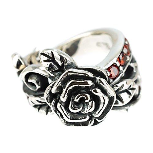 ジナブリング (JINA BRING) 薔薇 デザイン ピンキーリング ファランジリング REDジルコニア ローズ デザイン レッド ジルコニア シルバー925