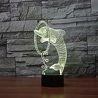 WZYMNYD ノベルティled家の装飾3dイリュージョン7色イルカナイトライトタッチボタンテーブルランプ子供クリスマスプレゼントusbスリープ照明