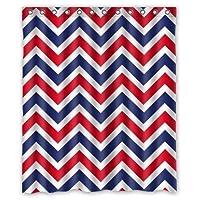 シャワーカーテン バスカーテン 防カビ おしゃれ 210x180cm Cool Modern Red Blue White Chevron Pattern