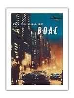 アメリカへ飛ぶ - BOAC (英国海外航空) - ビンテージな航空会社のポスター によって作成された フランク・ウートン c.1950 -プレミアム290gsmジークレーアートプリント - 46cm x 61cm
